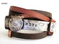Free shipping, Mens Leather Bracelet, Leather bracelet,Womens leather bracelet,Cuff bracelet,Bengel bracelet.Wrap bracelet.Old Israeli coin.