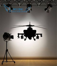 Aiwall Army Helicopter Sticker Bedroom Art Decal Boys Wall Stickers Home Decoration