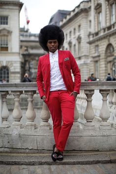 Prince Cassius outside Somerset House at London Fashion Week, February 2012. Photographer: Marcus Dawes