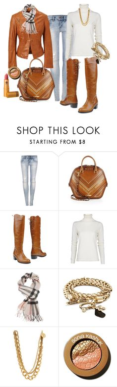 """Leather"" by taming-kate ❤ liked on Polyvore featuring Pull&Bear, Burberry, Salvatore Ferragamo, MANGO, H&M, Sonia Kashuk and Lipstick Queen"