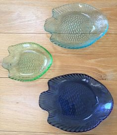 Glass Fish Dishes Plates Colored Glass Tropical Set Of 3 & Vintage Fish Plates and Bottles | Fish plate Vintage fishing and Bottle