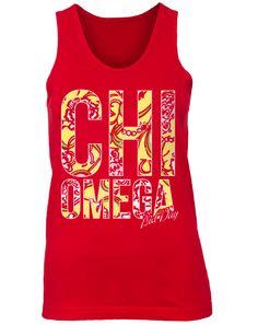Chi Omega Lilly Pulitzer Print Tank by Adam Block Design | Custom Greek Apparel & Sorority Clothes | www.adamblockdesign.com