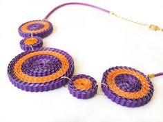 Corrugated Paper Necklace Orange and Purple. Corrugated Cardboard Quilling Paper Jewelry. 1st anniversary gift. Upcycled Recycled Unusual