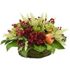Daphne Arrangement ($399) ❤ liked on Polyvore featuring home, home decor, floral decor, magnolia arrangement, artificial hydrangea arrangement, flower basket, magnolia flower arrangement and flower arrangement