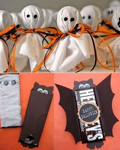 So want to make the ghosts for Halloween! Halloween Candy Crafts, Dulceros Halloween, Halloween Infantil, Halloween Goodie Bags, Halloween School Treats, Adornos Halloween, Manualidades Halloween, Halloween Party Favors, Halloween Goodies