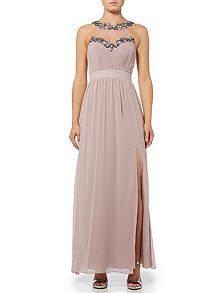 Sleeveless Embellished Neckline Maxi Dress
