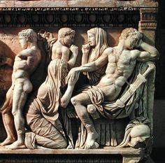 Sarcophagus depicting Priam begging Achilles for the body of his son Hector (marble)