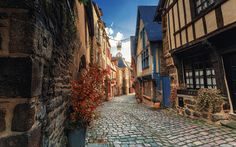 Download wallpapers Dinan, old street, pavement, old town, Brittany, France