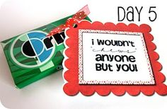 14 Days of Valentines with Printable Tags to attach to small gifts- perfect for boyfriend, or that special someone!