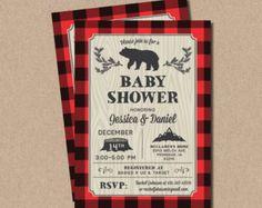 Lumberjack baby shower Invitation // Buffalo Plaid by LyonsPrints