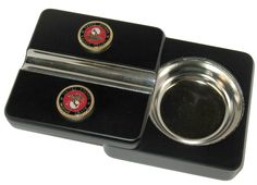Executive Black Travel Cigar Ashtray Red Gold US Marines Emblem Special Order