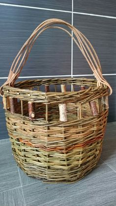 Round willow basket with multi leather handle