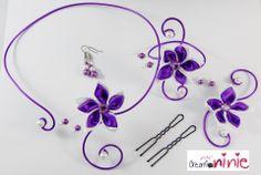 """Parure 4 pièces """"Agathe"""" mariage violet et blanc personnalisable : Parure par creation-ninie"""
