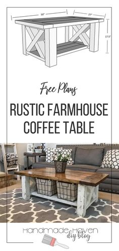 Build a farmhouse coffee table for cheap. Free woodworking plans #woodworking #diyhome #diyfurniture
