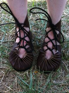 Ghillie Shoe SCA Leather Historical Reenactment - Brown on Etsy, $90.00