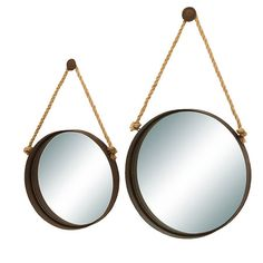 Set Of Two Porthole Shaped Metal Mirrors With Rope Hangers Product Small And