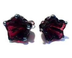 2 Flower Charms, Raspberry Red Lampwork Glass Charms in a Bellflower Shape for Jewelry Designers - MTO Money Making Crafts, Crafts To Make And Sell, Handmade Beads, Handmade Gifts, Head Pins, Etsy Crafts, Sewing Accessories, Beaded Flowers, Lampwork Beads