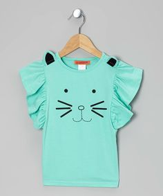 Take a look at this Aqua Cat Angel-Sleeve Top - Toddler & Girls by Funkyberry on #zulily today!