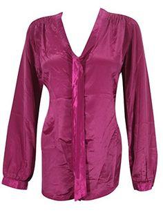 Womans Peasant Tops Blouses Solid Magenta Long Sleeve Satin Silk Blouse Top Medium Sz Mogul Interior http://www.amazon.com/dp/B00WEARDA4/ref=cm_sw_r_pi_dp_6uJnvb0VG73SF