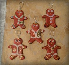 FIMO gingerbread men Christmas tree decorations