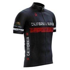 California Republic Black Cycling Jersey-Online Cycling Gear #cyclingshirt