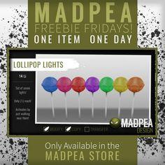 MadPea Lollipop Lights Second Life Friday Freebie