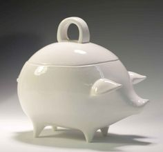 White Salt Pig or Jar mexican style piggy bank by apiecebydenise