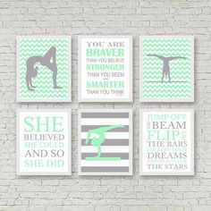 Mint green girls room decor, gymnastics quotes, gift for pre teen girl, gymnastics art, tumbling, gymnast, inspirational girls room decor