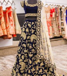 Buy navy blue velvet embroidered unstitched lehenga choli lehenga-choli online