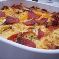 bacon egg and cheese strata recipe breakfast and brunch with white bread cooked - Cheese Strata Recipes Brunch