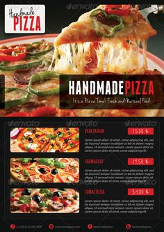 Buy 3 in 1 Food And Pizza Menu Flyer Bundle 01 by rapidgraf on GraphicRiver. High impact Multiuse Double-sided Food and Pizza Flyer templates Bundle, perfect for restaurant, bar, fast food, stor. Pizza Flyer, Menu Flyer, Pizza Menu, Pizza Food, Restaurant Flyer, Pizza Restaurant, Good Pizza, Psd Templates, Vegetarian