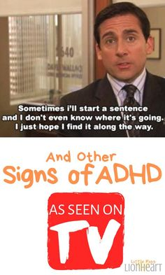 TV shows the signs of Adult ADHD if you know where to look! Using ADHD humor and popular shows like The Office, Psych, B Adhd Humor, Adhd Funny, Adhd Quotes, Wisdom Quotes, Quotes Quotes, Adhd Facts, Adhd Signs, Adhd Brain, Adhd And Autism