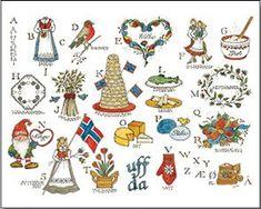 Norwegian Alphabet Print by Jana Johnson Schnoor Alphabet Drawing, Alphabet Print, Scandinavian Folk Art, Scandinavian Countries, Norwegian Christmas, Scandinavian Christmas, Santa Lucia, Lofoten, Norwegian Style