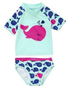 Girls whale swimsuit by crazy8 - Deep sea sweet! Whale appliqué rash guard plus tipped bikini bottom.