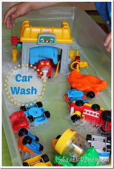 car themed sensory bin play idea for toddlers  | Share and Remember: Little People Car Wash Water Play