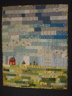 you almost don't realize this #scrap #quilt is a scene until you see the house in the corner
