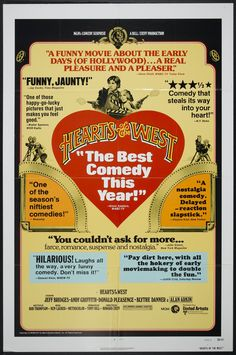 Hearts of the West (1975) Stars: Jeff Bridges, Andy Griffith, Donald Pleasence, Blythe Danner, Alan Arkin, Herb Edelman, Frank Cady, Candice Azzara ~  Director: Howard Zieff (Won the National Board of Review Award for Top 10 Films in 1975; Alan Arkin won Best Supporting Actor Award from the New York Film Critics Circle & nominated for Best Comedy Written Directly for the Screen by the Writers Guild of America, USA 1976)