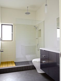 Mercer Island XV contemporary bathroom/like extending the shower so that u can dry off w/o stepping out and getting whole floor wet.