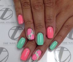 Beautiful nails 2016, Fresh mint nails, Nails with roses, Pastel colors nails, Shellac nails 2016, Spring 2016 nails, Summer bright nails, Two-color nails