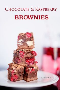 Fudge Chocolate Raspberry Brownie Bites Recipe made from scratch with real raspberries. #brownie #chocolate #dessertbites