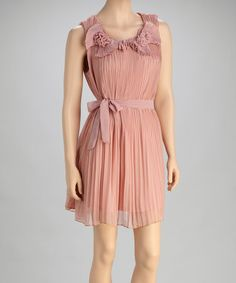 Another great find on #zulily! Mauve Pleated Silk-Blend Dress by Pretty Angel #zulilyfinds