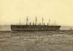 """The famous SS """"Great Eastern"""" ready to be broken up on she shore line of New Ferry on the Wirral. Bits of iron can still be found around the area. Liverpool Town, Liverpool Docks, Liverpool History, Isambard Kingdom Brunel, Scotland History, Merchant Navy, Boat Painting, Out To Sea, Nautical Art"""