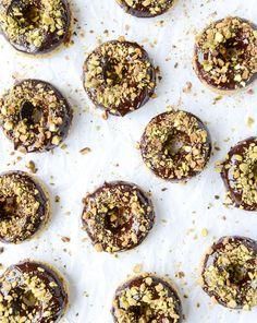 chocolate fudge pistachio cake donuts I howsweeteats.com