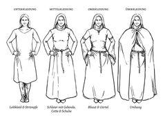 Schichten einer Damengewandung Larp, Medieval Costume, 12th Century, Historical Clothing, History, Deities, Gown, Clothes, Style