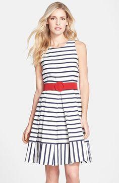 Eliza J Belted Stripe Fit & Flare Dress (Regular & Petite) available at #Nordstrom
