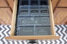 DIY Tutorial - create labels for makeup by lining drawer with chalkboard vinyl & adding clear containers on top. A place for everything & everything in its place!