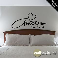 Amore in Italian means love, affection, fondness, darling, dear, desire, poppet. Perfect for your bedroom or living room.    ★ If you need this decal in a custom size, please message us and we can create a listing specific to what you need. ---------------------------------------------------------------------------------  SIZES : ★ 51.5 in. x 23 in.  ★ 48 in. x 21.5 in. ★ 36 in. x 16.25 in.  ★ 30 in. x 13.5 in.  ★ 23 in. x 10.5 in…