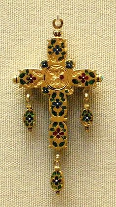 Enamelled gold, back side of cross  England 16th cent Museum