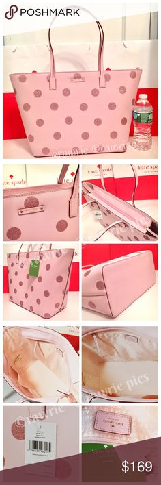 """SALE New Kate Spade glitter polka dot large tote 100% authentic Kate Spade large Margareta tote. Pink cross hatched vinyl with glittered polka dots. 14-karat light gold plated hardware. Zip top closure and fabric lining. Inside zip and slip pockets. Handles drop 9"""". Measures 19""""top/12.5""""bottom x 11.5"""" (H) x 6"""" (W). Brand new with tags. Comes from a pet and smoke free home. kate spade Bags Totes"""