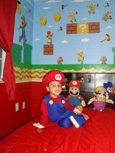 super mario bedroom- super cute when the boys are older (mario & luigi sides- red/green)